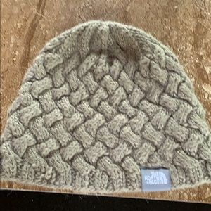 North face army green wool nit hat